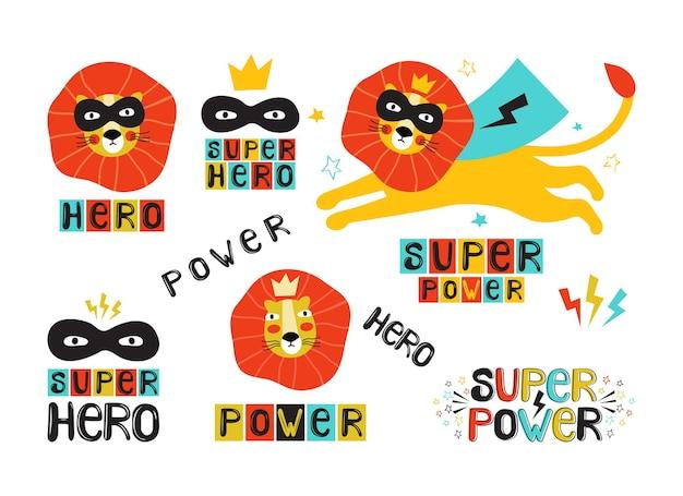 Super eroe leone in una maschera nera e mantello e scritte, set di adesivi