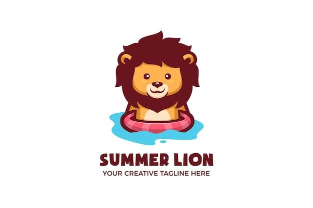 Modello di logo della mascotte del fumetto di estate di nuoto del leone