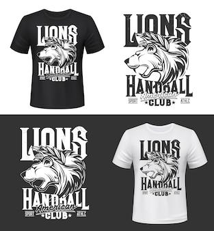 Stampa t-shirt leone, mascotte re degli animali per club di pallamano