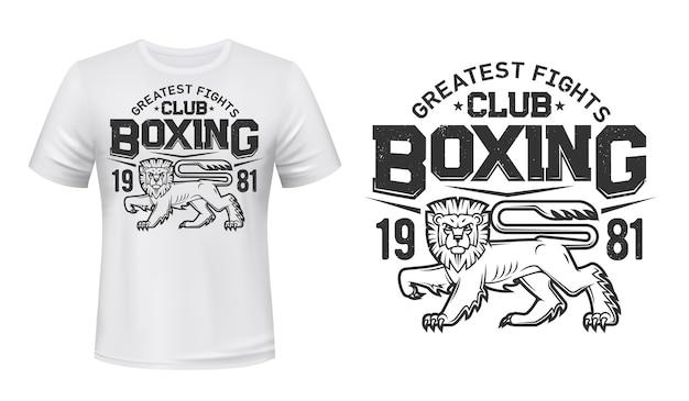 Mockup di stampa t-shirt leone, emblema della squadra di boxe fight club