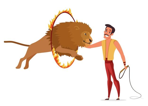Illustrazione di colore del domatore di leoni. uomo felice in vestito di carnevale che tiene il personaggio dei cartoni animati di frusta. gestore che esegue acrobazie pericolose. il leone salta attraverso l'anello di fuoco. spettacolo da circo