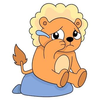 Il leone era seduto con i capelli folti, il viso triste che piangeva. emoticon dei cartoni animati. disegno dell'icona scarabocchio, illustrazione vettoriale