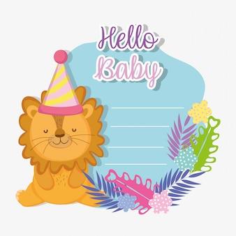 Leone con cappello da festa per la festa della doccia bambino