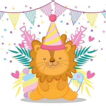 Leone con festa cappello e banner per baby shower celebrazione