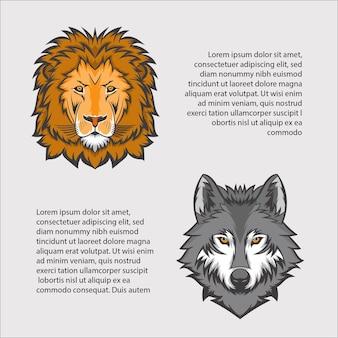 Illustrazione vettoriale di leone e lupo