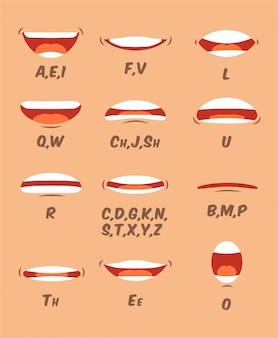 Sincronizzazione labbra e lingua impostata per l'animazione e la pronuncia del suono. raccolta di cartoni animati bocca umana in stile cartone animato piatto. elementi del volto del personaggio.