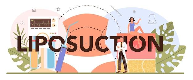 Concetto di intestazione tipografica di liposuzione