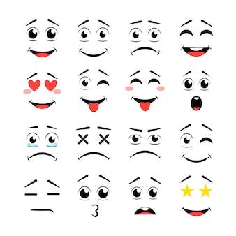 Labbra e occhi con espressioni diverse
