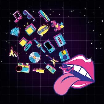 Pop art labbra con set di icone