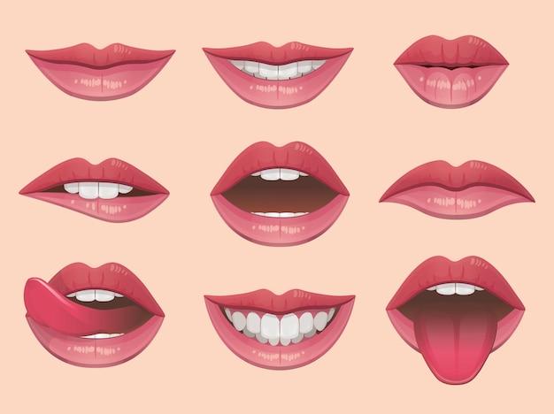 Labbra impostare illustrazione vettoriale.