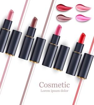 Modello di modello di raccolta bellezza rossetto. pacchetti cosmetici
