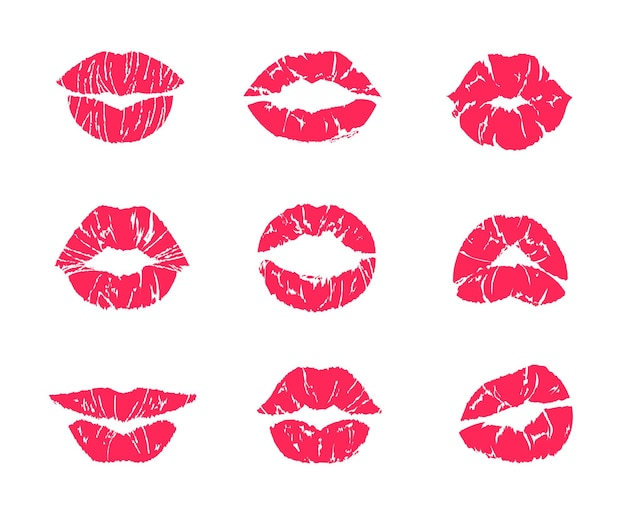 Bacio di rossetto. trucco bocca femminile, stampa grunge rosso labbra donna isolato su bianco, set di simboli di affare