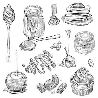 Salsa di caramello liquido in barattolo, cucchiaio, caramelle toffee, splash, mela, set da dessert cupcake