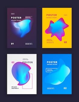 Set copertine colore liquido. composizione di forme fluide. poster dal design futuristico. illustrazione vettoriale.