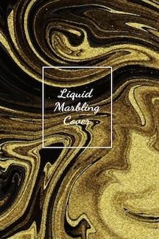 Sfondo di opere d'arte astratta in marmo oro scuro liquido con texture linea oro.