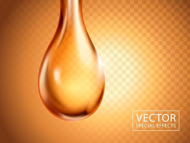 Goccia liquida da vicino con luce dorata, può essere utilizzata come elemento