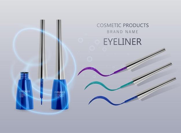 Eyeliner liquido, set di colore blu, mockup del prodotto eyeliner per uso cosmetico nell'illustrazione 3d, isolato su sfondo chiaro. illustrazione vettoriale eps 10