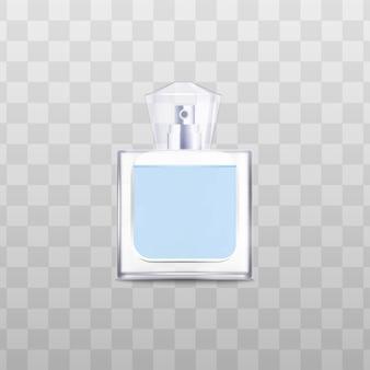 Bottiglia di vetro o plastica riempita di liquido con un tappo per profumo, modello per illustrazione vettoriale realistica su una superficie trasparente