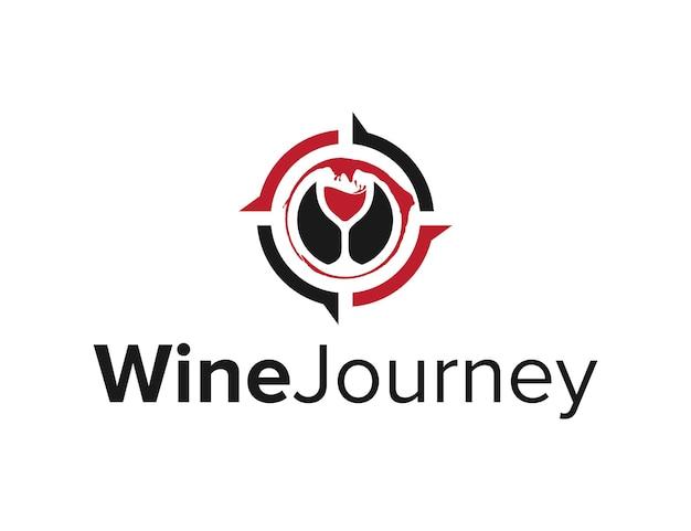 Bicchiere di vino liquido con bussola design semplice ed elegante del logo moderno