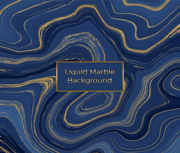Struttura in marmo liquido. pittura a inchiostro glitterata blu e dorata
