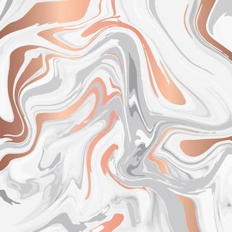 Disegno di struttura di marmo liquido, superficie di marmorizzazione colorata, linee lucide di rame, vibrante disegno astratto della vernice
