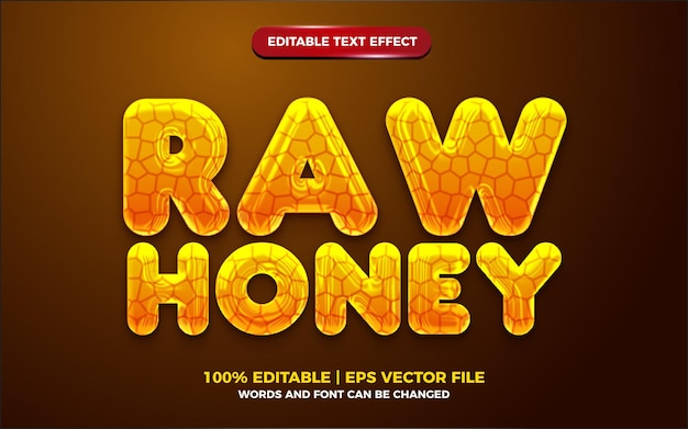 Effetto di testo modificabile 3d giallo miele grezzo liquido