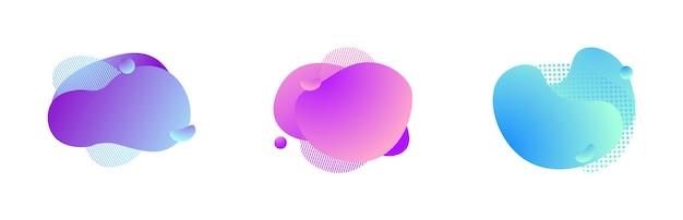 Bolle fluide alla moda astratte di forma liquida cornice magica dinamica vettoriale spruzzata geometrica moderna sfumatura...