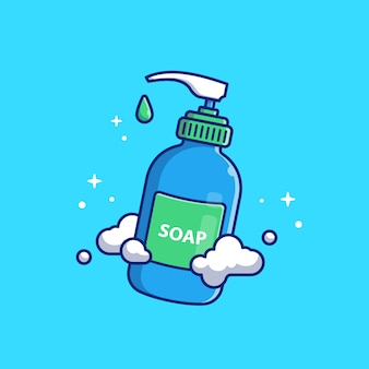 Illustrazione dell'icona del sapone liquido. lavarsi le mani. sanità e concetto medico dell'icona isolato