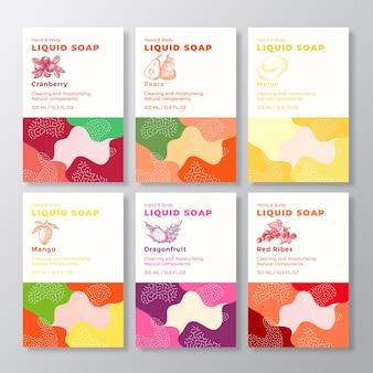 I modelli di etichette per pacchetti di sapone liquido impostano forme camouflage