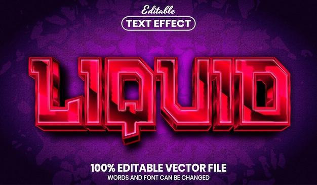 Testo liquido, effetto testo modificabile in stile carattere
