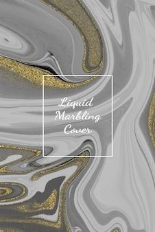 Sfondo di opera d'arte astratta in marmo bianco liquido con texture linea oro.