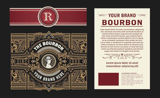 Illustrazione retrò di design vintage etichetta liquore