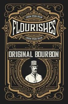 Etichetta di liquore vintage design retrò illustrazione vettoriale