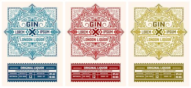Etichetta di liquore con ornamenti floreali