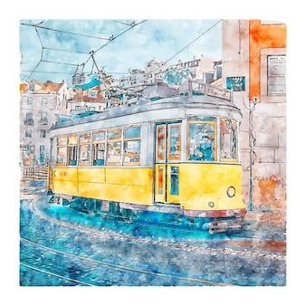 Illustrazione disegnata a mano di schizzo ad acquerello di lisbona portogallo