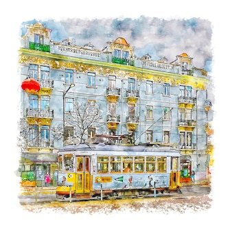 Illustrazione disegnata a mano di schizzo dell'acquerello di lisbona portogallo