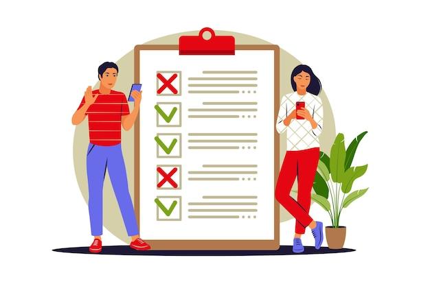 Per fare il concetto di lista. persone che controllano le attività completate e danno priorità alle attività nell'elenco delle attività da svolgere. illustrazione vettoriale. appartamento.