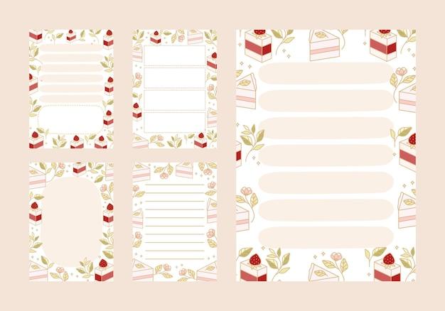 Elenco delle cose da fare, pianificatore giornaliero, modelli di blocco note con torta disegnata a mano e elementi di fragole