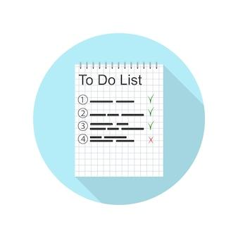 Elenco delle cose da fare per la giornata. un piano di lavoro. voci importanti nel taccuino. fatto. design dell'icona per la gestione del tempo. il compito di pianificazione. illustrazione vettoriale.