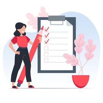 Elenco di cose da fare, la ragazza tiene una matita rossa e annota le attività completate in tempo. concetto di gestione del tempo. illustrazione