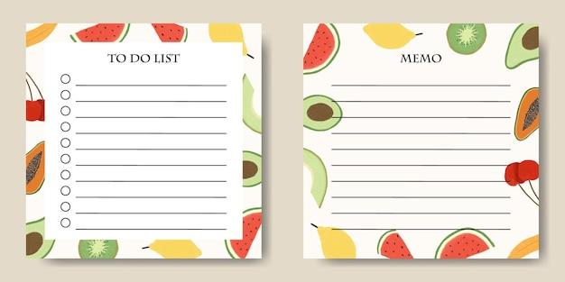 Modello di promemoria per la lista delle cose da fare con sfondo di illustrazione di frutta
