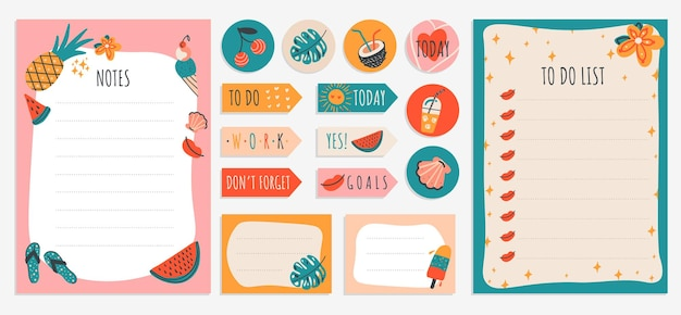 Nota sulla lista delle cose da fare con adesivi estivi colorati e liste di controllo per il pianificatore di quaderni e altri articoli di cancelleria