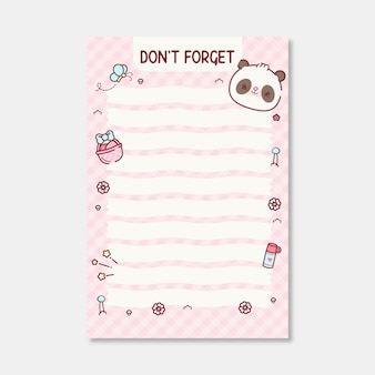 Modello di pianificazione della lista delle cose da fare con simpatico orso panda premium vector