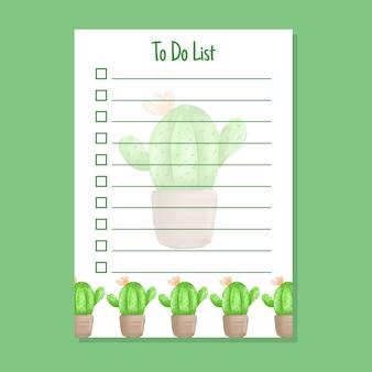 Modello di elenco delle cose da fare con acquerello di cactus