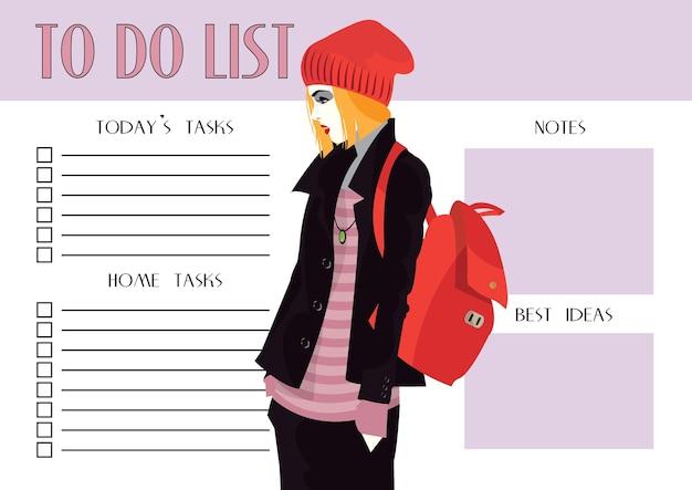 Lista delle cose da fare con la moda donna in stile pop art.