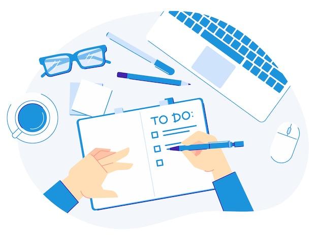 Per scrivere la lista. la mano con la penna scrive le liste del pianificatore, l'organizzazione produttiva ed il blocco note sull'illustrazione di vettore di vista da tavolino
