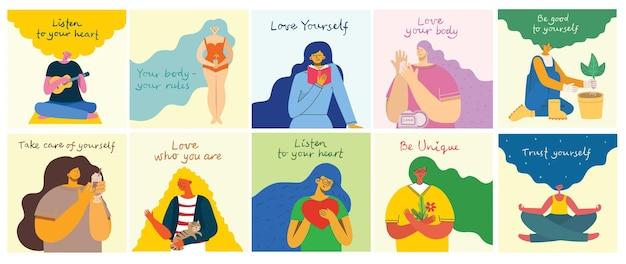 Ascolta il tuo cuore. amare se stessi. scheda di concetto di stile di vita vettoriale con testo non dimenticare di amare te stesso in stile piatto