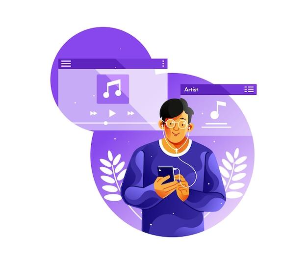 Ascolto di musica da smartphone con auricolare