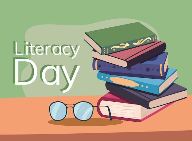 Banner per il giorno dell'alfabetizzazione con libri di testo e occhiali da vista