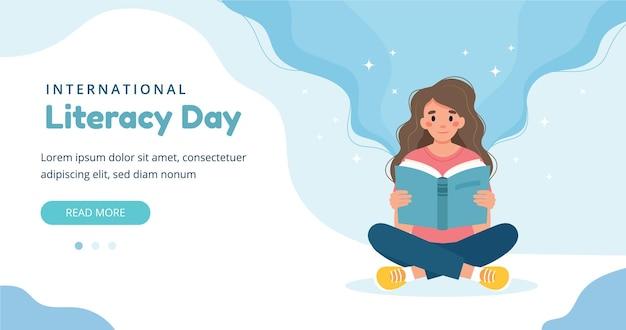Concetto di giorno di alfabetizzazione. libro di lettura della donna mentre è seduto. modello di banner illustrazione vettoriale carino